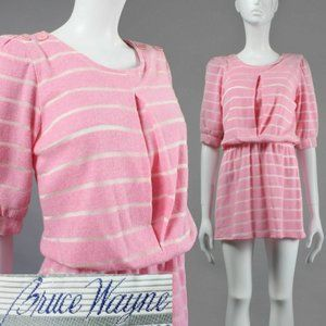 M/L Vintage 70s 80s NOS Soft Mini Sweater Dress